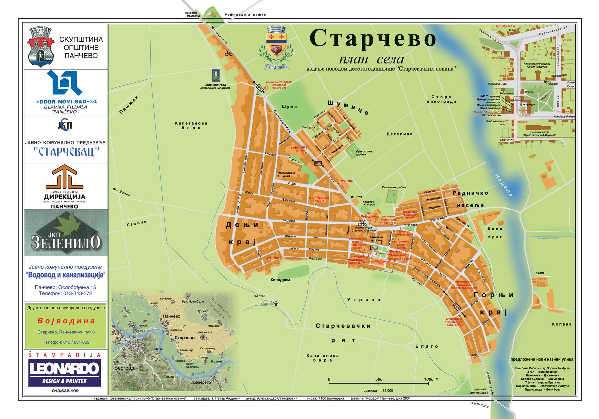 Mapa Starčeva sa nazivima ulica